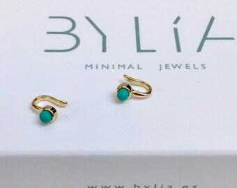 85d603743 Turquoise ear cuff - Non pierced ear cuff - Minimalist ear cuff - - Dainty ear  cuff - Gold ear cuff - Silver ear cuff - Minimal jewelry
