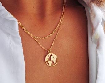 World map necklace, Globetrotter necklace, Gold map necklace, World necklace, map necklace, Medal necklace, Dainty necklace, Silver necklace