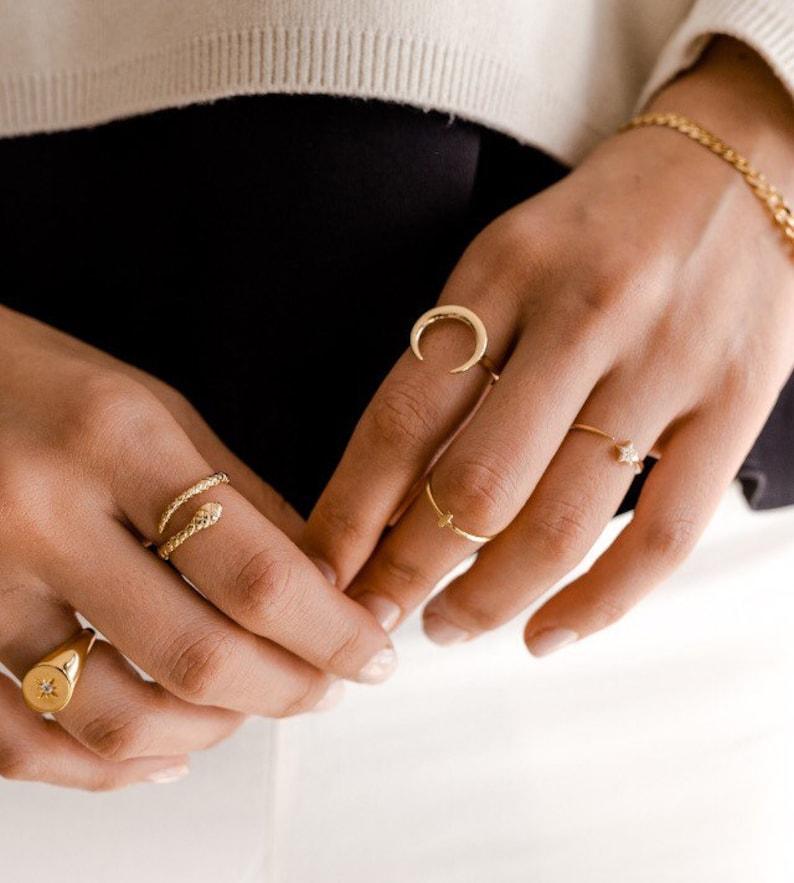 Gold moon ring  Minimalist ring  Horn ring  Dainty ring  image 0
