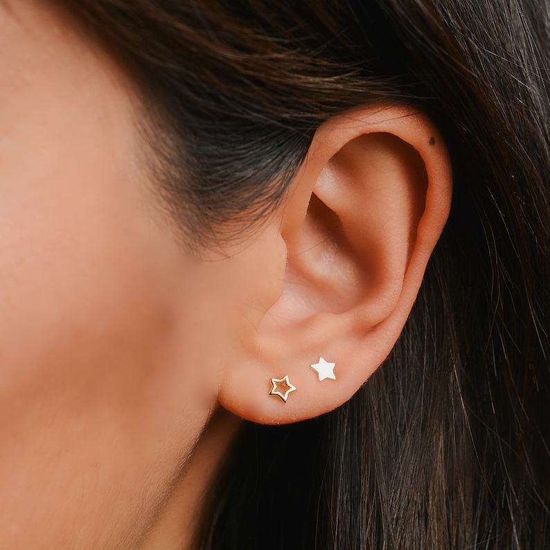 636507ada Star studs Outline star stud earrings Tiny star earrings | Etsy