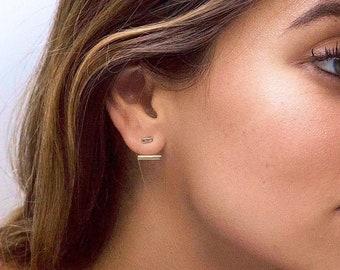 Bar ear jacket earrings - Gold bar earrings - Gold ear jacket - Minimalist ear jacket - Dainty earrings - Minimalist earrings