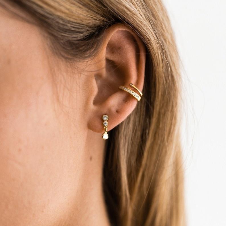 Gold earrings Tiny earrings Exclusifs earrings Gold studs Minimal studs - Dainty cz studs Cz earrrings Delicate earrings