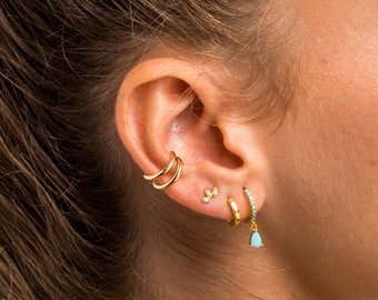 Turquoise gold hoops, Turquoise gemstone hoop earrings charm, Gold charm hoops, Silver Turquoise charm hoops, Turquoise hoops, Dainty hoops