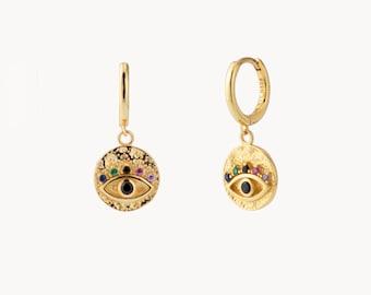 Eye Cz hoops - Dainty Gold Hoops - Eye Hoop Earrings - Horus eye gold Hoops -CZ Gold Hoop Earrings - Dainty Earrings -Minimalist gold hoops