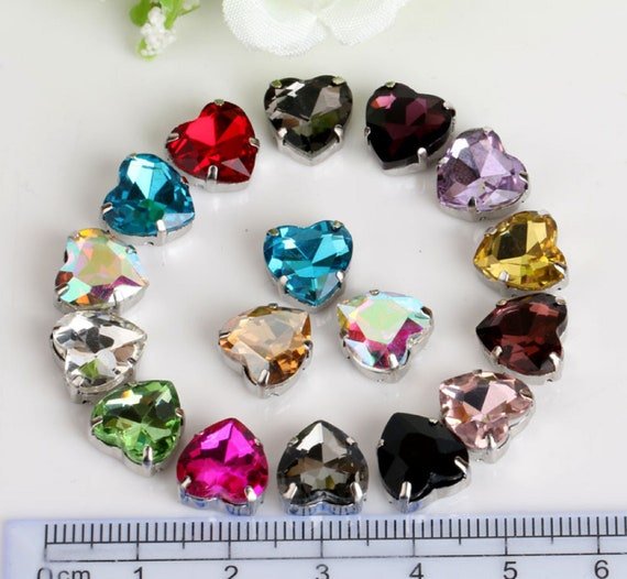 50pcs Sew On rhinestone 10mm heart crystal cabochons cut glass diy dress making