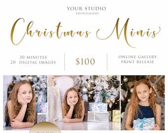 Christmas minis,Mini sessions Holiday mini sessions, Marketing Board, Photoshop Template for Photographers, Winter Mini Session