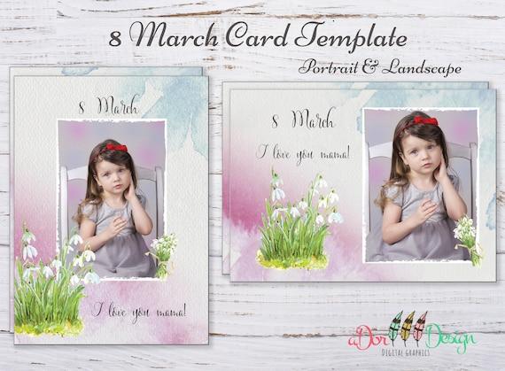 8 März Kartenvorlage Mutter-Tag-Vorlage für Photoshop | Etsy
