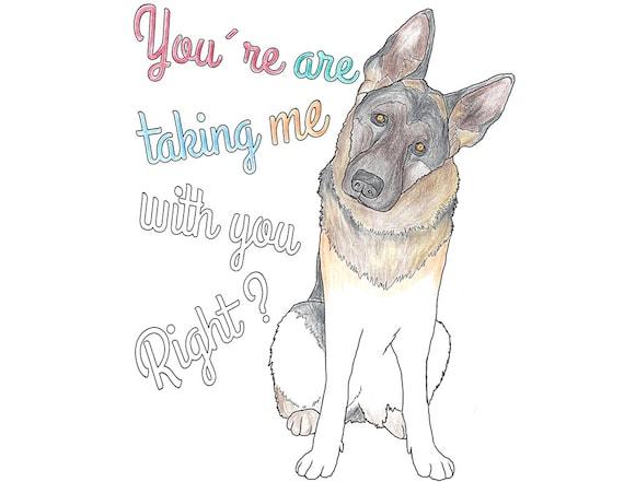 Kleurplaten Honden Duitse Herder.Items Op Etsy Die Op Duitse Herder Kleurplaat Hond