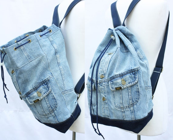 jeans rucksack umfunktioniert jean jacke gro en eimer etsy. Black Bedroom Furniture Sets. Home Design Ideas