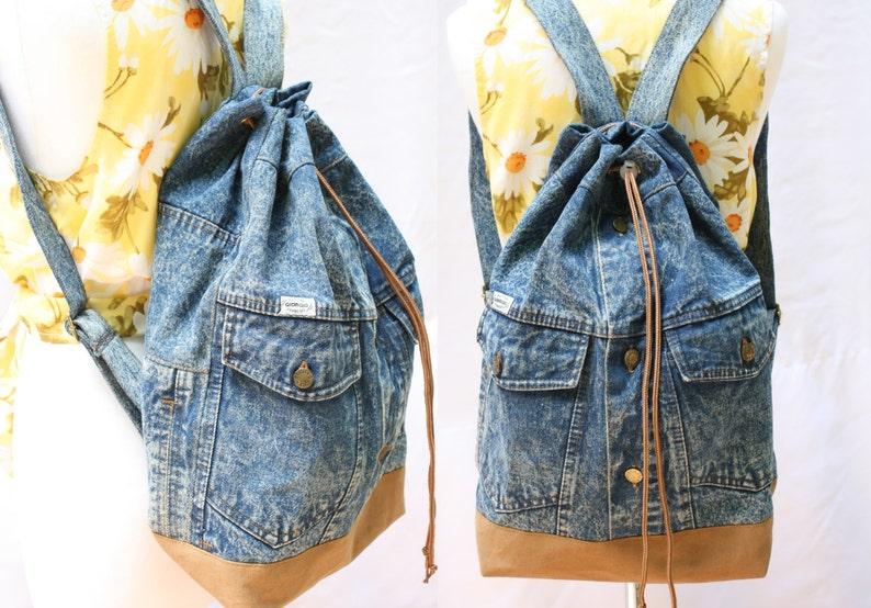 911481396 Denim backpack acid wash repurposed jean jacket bucket | Etsy