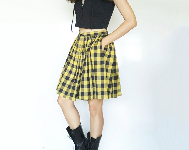 8ca61f7472 90s Grunge Plaid Skirt S High Waist Pleated Mini Skirt Preppy | Etsy