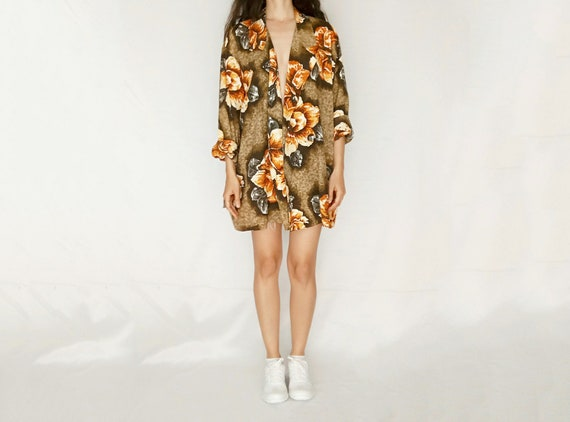 1980s 0r 1990s soft slouchy floral printed blazer