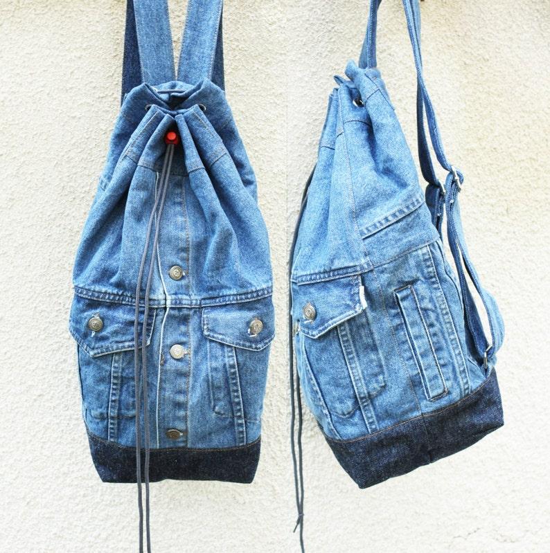 3ccec379282 Denim Rucksack Upcycled Jeans Jacke Jeans Tasche Kordelzug | Etsy