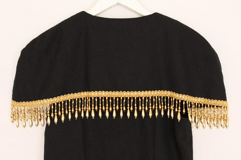 Gold Tassel Dress Beaded Vintage Dress Golden Fringed Button Down Fitted Midi Evening Pencil Dress Sleeveless Black Gold M L Medium Large
