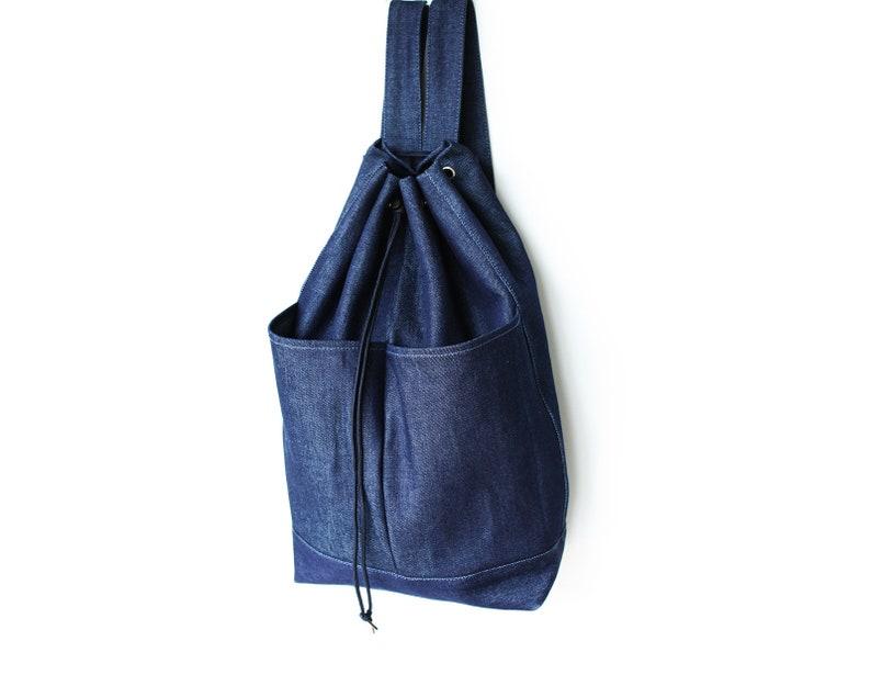 4f7ecfae347d Denim Backpack Dark Blue Jean Bag Big Bucket Drawstring Bag