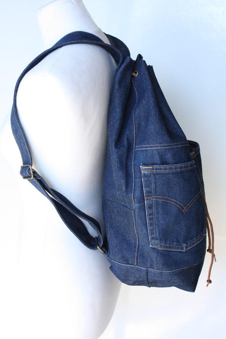 270d36bb08f Jeans-Rucksack recycelten Jeans Jean Tasche Kordelzug | Etsy
