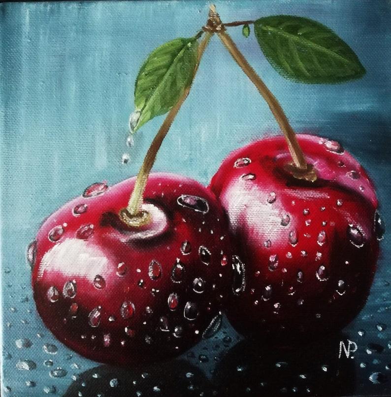 Cherry Twins Original Small Still Life Fruit Oil Painting On