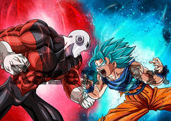 jiren vs goku super saiyan blue 2 rage mode print etsy