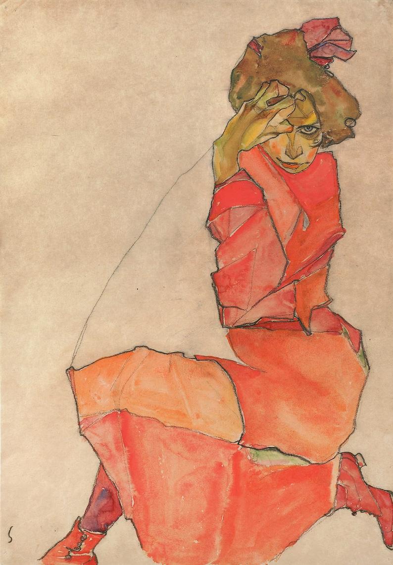 Oranje Rode Jurk.Knielende Vrouw In Oranje Rode Jurk Egon Schiele Poster A3 Etsy