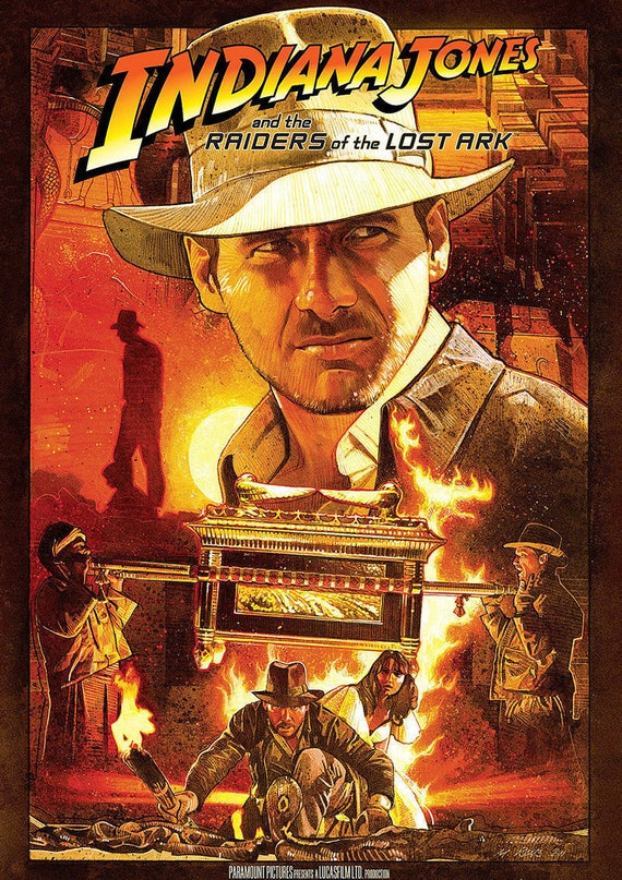 9a227d46e78 Indiana Jones Raiders of the Lost Ark Movie Poster A3 or A4   Etsy