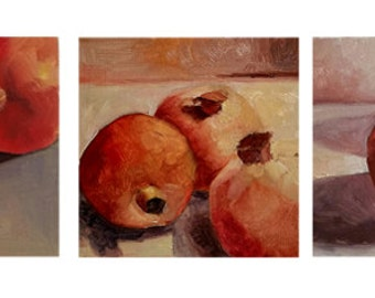 Set of 3 Oil Paintings - Pomegranates on the Table 3 Original Signed Oil Painting