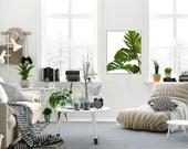 living room frame mockup, minimalist interior styled stock photography, wood frame mockup