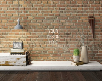 Download Free Brick wall living room Photography, BUY5 PAY3, Styled Photography, PSD Template