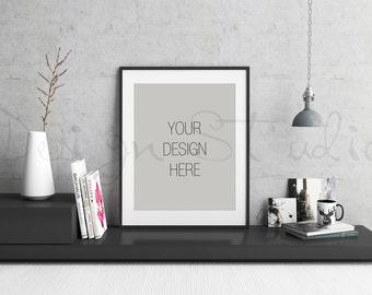 Download Free Styled Stock Photography, Concrete wall Frame Mockup, black Digital Frame mockup, Styled Photography Mockup, stock photo PSD Template