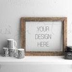 Horizontal wooden frame mockup, Styled Stock Photography, Product Background Mockup , old wood scene, Vintage scene mockup