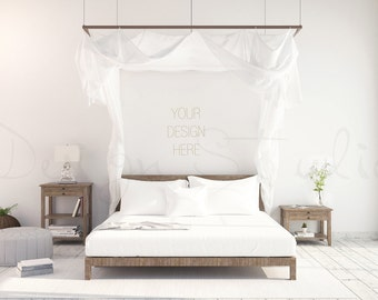 Download Free Styled bedroom stock Photography, Scandinavian interior , Poster Mockup PSD Template