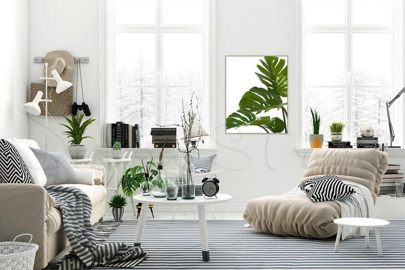 living room frame mockup minimalist interior styled stock image 0