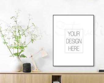 Minimalist frame mockup,  Styled Stock Photography, black frame mockup, Product Background Mockup , living room mockup,