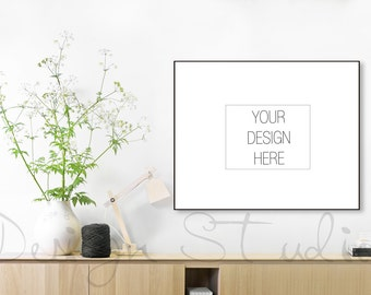 BUY3 PAY2, Minimalist frame mockup, Styled Stock Photography, black frame mockup, Product Background Mockup , living room mockup,