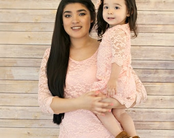 Peach Lace Dress Mommy And Me Outfits Mematching Matching Dresses Valentines Gift Baby Girlmom
