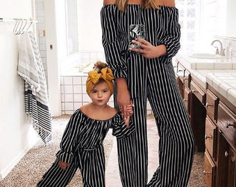 Jumpsuit Mommy And Me Outfitsmommy Mother Daughter Outfit Matching Outfitsoff Shoulder Black White Striped Daugther