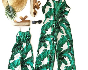 e718d43143d5c8 Tropical jumpsuits, mommy and me, mommy and me outfits, mother daughter, mommy and me, matching outfits, palm leaf print, matching outfit
