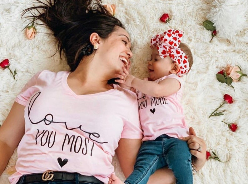 0db82645a4808 Love you more love you most mommy and me matching shirts | Etsy