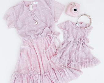 PINK LUCY'S DRESSES | mommy and me valentines outfits, mommy and me outfits, matching outfits, mother daughter matching dress, valentines