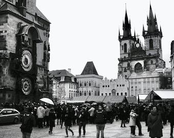 Prague City Center Fine Art Print / Easter in Prague / Black & White Hanging Wall Art / Busy City Scene / Modern Home Decor / Large Wall Art