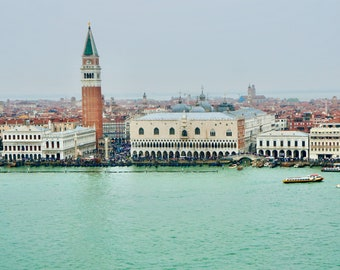 Aerial View of San Marco Island / Venice Italy Fine Art Print / Italy Home Decor / Soft Color Wall Art  / Iconic European Photographs