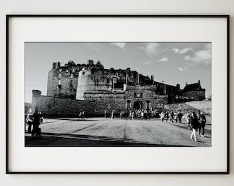 Edinburgh Castle Print / Black & White Wall Art / Scotland Cityscape / Castle Photography / Modern Home Decor / Large Wall Art