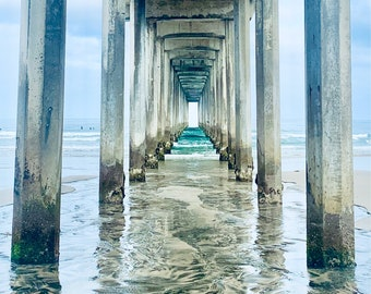 Scripps Pier Fine Art Print | Neutral Beach Wall Art | Variety of Color Finishes  | La Jolla Photography | Ocean Pier Art | Home Decor