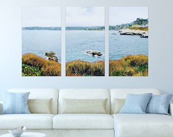 La Jolla Coast Canvas Wrapped Wall Art Set, San Diego Triptych, Large Hanging Wall Art, California Photography, Beach, Ocean, Print Sets