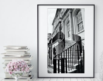 Charleston City Hall Print / Black & White Hanging Wall Art / Southern Architecture / Stairway Art / Modern Home Decor / Large Wall Art