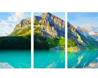 Lake Louise Print Set / Three Fine Art Photographs / Rocky Mountain Wall Art / Canadian Rockies / Bright and Colorful Home Decor