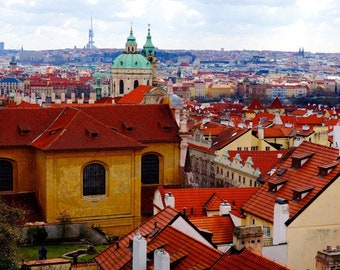 Prague Skyline Print / Red Rooftops of Czech Republic / Bright and Colorful Wall Art / Canvas Wrapped / Fine Art Print / European Cityscape