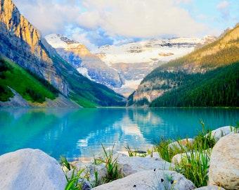 "Lake Louise Fine Art Print, Travel Photography, Canadian Rockies, Sunrise, ""Morning on Lake Louise"""