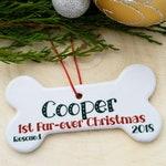 Adopted Dogs First Christmas Ornament Personalized - Puppys 1st Christmas - First Xmas Porcelain Dog Bone Ornament - Dog Adoption