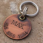 Copper Dog Tag for Dogs - Personalized Pet ID Tag - Dog Name Tag - Puppy Dog Collar Tag - Round Circle Copper Pet Tag - Max