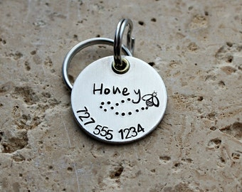 Dog Tag - Pet ID Tag - Pet Name Tag - Dog Collar Tag - Personalized Tag - Custom Dog Name Tag - Hand Stamped Dog Tag - Puppy Tag - Honey Bee